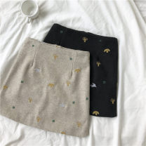 skirt Winter 2020 S,M,L Black, apricot Short skirt commute High waist A-line skirt Type A 18-24 years old More than 95% Wool Embroidery Korean version