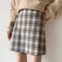 skirt Spring 2021 S,M,L Khaki, black Short skirt Versatile High waist A-line skirt lattice Type A 18-24 years old Other / other polyester fiber