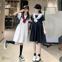 Dress Summer 2021 White, black Average size Middle-skirt singleton  Short sleeve commute Admiral High waist Solid color Socket A-line skirt other 18-24 years old Type A Korean version bow 51% (inclusive) - 70% (inclusive)