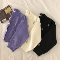 Wool knitwear Autumn 2020 Average size White, purple, black Long sleeves singleton  Cardigan other More than 95% have cash less than that is registered in the accounts routine commute Straight cylinder V-neck routine Solid color Single breasted Korean version 18-24 years old Embroidery, buttons