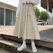 skirt Spring 2021 Average size Apricot, off white, black Mid length dress commute High waist A-line skirt Solid color Type A 18-24 years old Korean version
