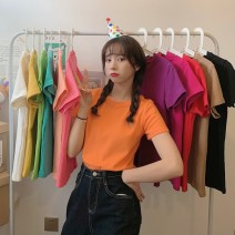 T-shirt Khaki, lake blue, rose red, white, purple, green, yellow, black, orange, meat pink, pink, scarlet M,L,XL Summer 2021 Short sleeve Crew neck Straight cylinder Regular routine commute cotton 51% (inclusive) - 70% (inclusive) 18-24 years old Korean version classic Solid color