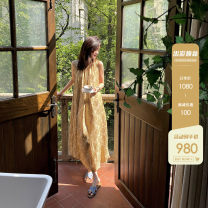 Dress Summer 2021 Oil painting rose (a small amount of stock), oil painting rose (25 working days), oil painting rose (45 working days) S,M,L longuette other Sleeveless commute Crew neck other other Others 25-29 years old Yang Xiaoyao DP21031 30% and below silk