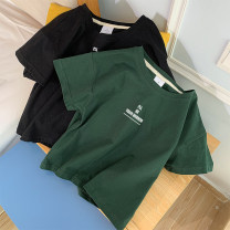 T-shirt Black, pink, yellow, dark green, purple, blue, color blue, grass green S,M,L,XL Summer 2020 Short sleeve Crew neck easy have cash less than that is registered in the accounts routine commute cotton 96% and above Korean version youth letter Flower 4032-51 printing