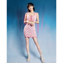 Vest sling Spring 2021 Pink Average size Two piece set have cash less than that is registered in the accounts Self cultivation commute I-shaped lattice 96% and above other zipper