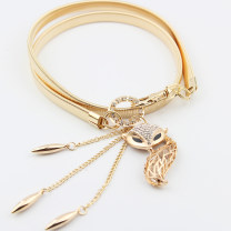 Belt / belt / chain Metal female Waist chain Versatile Single loop Youth, youth, middle age a hook Diamond inlay alloy