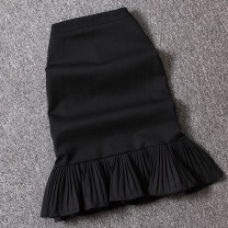 skirt Summer 2021 S,M,L,XL black longuette street skirt Solid color Type H 25-29 years old D1068—1 More than 95% Ocnltiy zipper Europe and America
