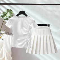 Fashion suit Summer 2021 S,M,L,XL,XXL White jacket + white skirt, black jacket + white skirt, Avocado Green + white skirt, white jacket + black skirt, black jacket + black skirt, Avocado Green + black skirt, white jacket + pink skirt, white jacket + gray skirt Ocnltiy HX—2251 96% and above cotton
