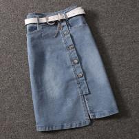 skirt Summer 2021 S,M,L,XL blue Middle-skirt commute High waist skirt Solid color Type H 25-29 years old FC3285 More than 95% Ocnltiy Korean version