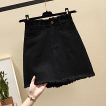 skirt Summer 2021 S,M,L,XL,2XL,3XL,4XL,5XL Light blue, white, black Short skirt commute High waist Denim skirt Solid color Type A 18-24 years old b15 # More than 95% Denim Ocnltiy cotton Korean version