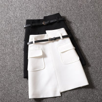 skirt Summer 2021 S,M,L,XL White, black Short skirt street High waist A-line skirt Solid color Type A 25-29 years old More than 95% Ocnltiy Lace up, zipper Europe and America