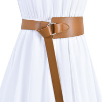 Belt / belt / chain Double skin leather Coffee black brown red off white female Waistband Versatile Single loop Youth, middle age and old age Round buckle soft surface 7.0cm alloy Bare body frosting Cold weapon LBQ1012 Autumn 2020