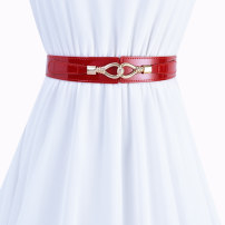 Belt / belt / chain top layer leather Light gold rice white red black female belt Versatile Single loop Youth, middle age and old age a hook Leather decoration Patent leather 3.8cm alloy Tightness Cold weapon LBQ0260 Spring 2020