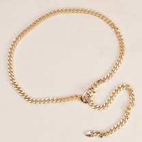 Belt / belt / chain Metal Silver Gold female Waist chain Versatile Single loop Children, youth, middle age and old age Pin buckle Geometric pattern Frosting 1.0cm Hollow chain Cold weapon Spring 2020