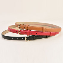 Belt / belt / chain Double skin leather Brown red black female belt Versatile Single loop Youth, middle age and old age Pin buckle Geometric pattern Frosting 1.8cm alloy Cold weapon Summer 2020 no