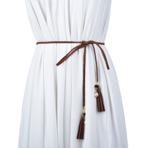 Belt / belt / chain other Grey Coffee Brown Navy Black Beige red olive green banana meat female belt Versatile Single loop Children: 1-6 years old, young, middle-aged and old bow soft surface Fringed bow Cold weapon LBQ1060 Spring 2021