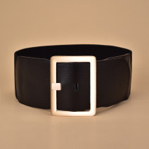 Belt / belt / chain top layer leather Brown red black female Waistband Versatile Single loop Youth, middle age and old age Pin buckle Geometric pattern soft surface 8.5cm alloy Tightness Cold weapon Autumn and winter 2018 no