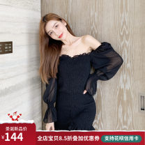 Dress Autumn 2020 Black long sleeve (stock), black short sleeve (stock) M (below 110 kg recommended), l (110-125 kg recommended), XL (125-140 kg recommended), 2XL (140-160 kg recommended), 3XL (160-180 kg recommended) Short skirt singleton  Long sleeves commute One word collar High waist Solid color