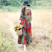 Dress Autumn 2020 Red and yellow leaves and flowers, blue and yellow leaves and flowers L,XL longuette singleton  Long sleeves commute Crew neck Loose waist Decor Big swing routine Others 25-29 years old Type A ethnic style 81% (inclusive) - 90% (inclusive) hemp