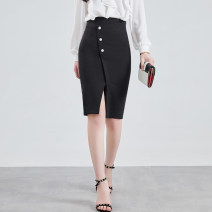 skirt Summer 2020 S,M,L,XL,2XL black Middle-skirt commute High waist skirt Solid color Type H 25-29 years old WQ200590 91% (inclusive) - 95% (inclusive) other Weimu Weiyi other Ol style 301g / m ^ 2 (including) - 350g / m ^ 2 (including)