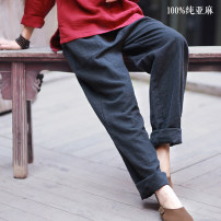 Casual pants Average size Autumn of 2019 trousers Straight pants Natural waist commute thickening 18-24 years old 96% and above Other / other hemp literature pocket hemp