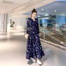 Dress Summer 2020 Decor S,M,L,XL,2XL,3XL longuette singleton  Long sleeves commute V-neck High waist Single breasted Big swing Type X Miao Ke ac0812 71% (inclusive) - 80% (inclusive) Chiffon