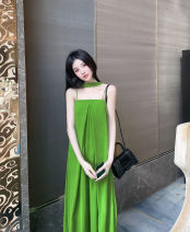 Jumpsuit / pants 51% (inclusive) - 70% (inclusive) trousers polyester fiber High waist street Emerald green S replenishment, m, l, XL Thin money Summer of 2019 Wide leg pants AMBER HOLIC