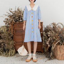 Dress Summer of 2019 lattice S, M Mid length dress singleton  Short sleeve Sweet square neck Loose waist lattice Single breasted Big swing routine Others 18-24 years old Type A Vagrant Republic Lace up, tie, button More than 95% other cotton