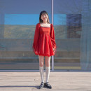 Dress Winter 2020 Cinnabar XS,S,M,L Short skirt singleton  Long sleeves commute square neck High waist Solid color Socket Big swing puff sleeve Others 18-24 years old Type X Retro Lace up, strap, zipper More than 95% other polyester fiber