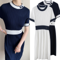 Dress Summer 2020 White, dark blue S,M,L Middle-skirt Short sleeve Crew neck