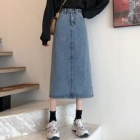 skirt Spring 2021 S,M,L,XL blue longuette Sweet High waist Denim skirt Solid color Type A Under 17 RP 30% and below Denim cotton pocket solar system