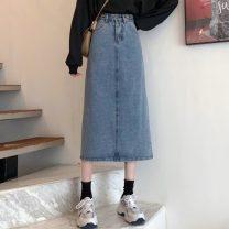 skirt Spring 2021 S,M,L,XL blue longuette Sweet High waist Denim skirt Solid color Type A Under 17 RP 30% and below Denim cotton pocket solar system