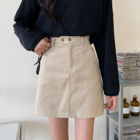skirt Spring 2021 S,M,L,XL Black, apricot, brown Short skirt Versatile High waist A-line skirt Solid color Type A Under 17 rp2 30% and below corduroy other 61G / m ^ 2 (including) - 80g / m ^ 2 (including)