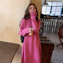 Dress Spring 2021 Orange , Plum color S,M,L,XL Mid length dress singleton  Long sleeves Sweet High collar Loose waist Solid color Socket routine Others Under 17 Type A rp 1.2.. 71% (inclusive) - 80% (inclusive) solar system