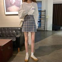 skirt Autumn 2020 S,M,L Light green grid, blue grid Short skirt Versatile High waist A-line skirt lattice Type A Under 17 wh-2728
