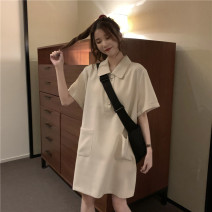 Dress Summer 2021 Apricot, black M,L,XL Mid length dress singleton  Short sleeve Sweet Polo collar High waist Solid color Three buttons A-line skirt routine Others Under 17 Type A pocket Wh 51% (inclusive) - 70% (inclusive) other polyester fiber solar system