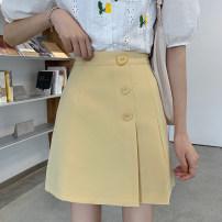 skirt Summer 2021 S,M,L,XL Yellow, black Short skirt Versatile High waist A-line skirt Solid color Type A Under 17 Wh 71% (inclusive) - 80% (inclusive)