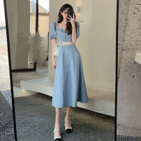 Dress Summer 2021 blue S, M Mid length dress singleton  Short sleeve Sweet square neck High waist Solid color A-line skirt puff sleeve Others Under 17 Type A RP solar system