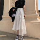 skirt Spring 2021 S,M,L White, black Mid length dress Versatile High waist Irregular Solid color Type A Under 17 Chiffon other