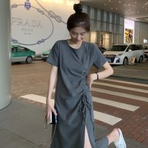 Dress Summer 2021 Gray, black Average size Mid length dress singleton  Short sleeve Sweet Crew neck Elastic waist Solid color Socket A-line skirt routine Others Under 17 Type A Pleating RP 71% (inclusive) - 80% (inclusive) polyester fiber solar system