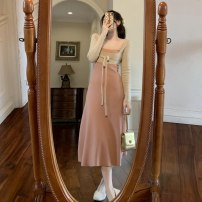 Dress Spring 2021 Black, pink S, M longuette Two piece set Long sleeves commute High waist Solid color Socket A-line skirt routine camisole 18-24 years old Type A Korean version Splicing 51% (inclusive) - 70% (inclusive) cotton