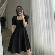 Dress Summer 2021 Black short, black long S. M, l, XL, [free shipping insurance for today's order], [add shopping cart in advance, surprise! 】 Mid length dress singleton  Short sleeve commute square neck High waist Solid color Socket A-line skirt puff sleeve Others 18-24 years old Type A Chiffon