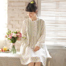 Nightdress ME JU 155(S),160(M),165(L),170(XL) Sweet Long sleeves Leisure home Middle-skirt spring Plants and flowers youth Crew neck cotton printing More than 95% pure cotton 360g