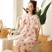 Nightdress Fudo Peach pink, peach blue 155(S),160(M),165(L),170(XL) Sweet Short sleeve Leisure home Middle-skirt summer Plants and flowers youth V-neck cotton lace More than 95% pure cotton LZ1351 300g