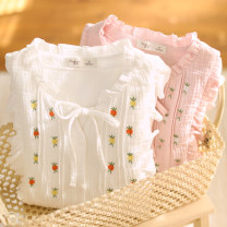 Nightdress Fudo 155(S),160(M),165(L),170(XL) Sweet Long sleeves Leisure home longuette spring Solid color youth V-neck cotton Embroidery More than 95% pure cotton 380g