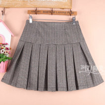 skirt Winter of 2019 Size S9 is for a 2-2-1 waist, size M11 is for a 2-1-2-2 waist, size L13 is for a 2-2-2-3 waist, and size XL15 is for a 2-4-2-5 waist houndstooth  Short skirt Versatile High waist Pleated skirt lattice Type A 71% (inclusive) - 80% (inclusive) other cotton Pleat, pleat