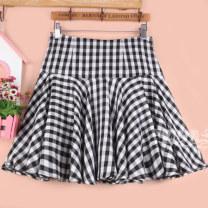skirt Summer 2020 Black and white check Short skirt Versatile High waist Fluffy skirt lattice Type A 51% (inclusive) - 70% (inclusive) other cotton Pleats, folds, zippers