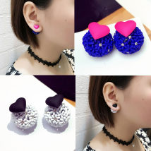 Ear Studs Alloy / silver / gold 30-39.99 yuan Other / other Royal blue and rose red. The earrings are black and white. Earrings brand new female other