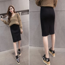 skirt Spring 2021 Average size black Mid length dress commute High waist skirt Solid color Type H 81% (inclusive) - 90% (inclusive) knitting cotton Korean version