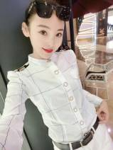 shirt White, black, blue M,L,XL,2XL,3XL Autumn of 2018 cotton 81% (inclusive) - 90% (inclusive) Long sleeves commute Regular stand collar Single row multi button routine lattice 18-24 years old Self cultivation Korean version Epaulet